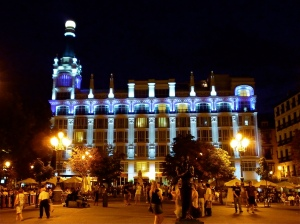 The beautiful Plaza de Santa Ana Madrid at night