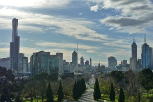 View of Melbourne facing north from the Shrine of Remembrance.